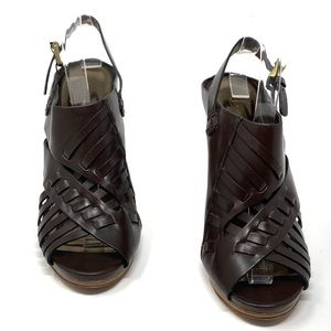 COACH Bessy Brown Leather Heel Slingback Sandals